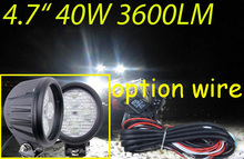 "Free DHL/UPS Ship,4.7"" 40W 3600LM 10~30V,6500K,LED working light;Free ship!Optional wire;motorcycle light,forklift,tractor light"