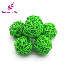 Lucia Crafts 3cm Rattan Wicker Cane Balls Patio Garden Wedding Birthday Party Christmas Ornament DIY Decoration 12pcs/lot 024061(China)