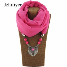 Jzhifiyer scarf women alloy vintage pendant jewelry necklace shawl hijab feminino summer fashion bandana plain black scarf