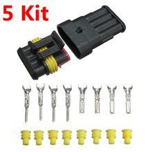 Brand New 5 Kits Car Auto 4 Pin 4 Way Sealed Waterproof Electrical Wire Connector Plug Set