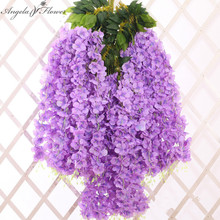 6PCS/LOT artificial wisteria flower new long type silk flower fake plant wedding window DIY decoration for home hotel shop decor