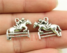 WYSIWYG 3pcs 20*18mm antique silver tone Horse Racing charms