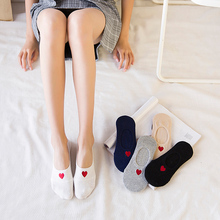 Summer Thin Cotton Embroidery Pattern of Love Silica Gel Non-slip Invisible Women Socks Low Cut Refreshing  Lovely Ankle Sox