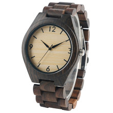 Fashion Men's Hand-mand Nature Wood Watches with Full Wooden Band Causal Quartz Wristwatch Best Gift for Men Reloj de madera(China)