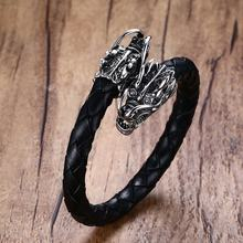 Vintage Mens Bracelet Stainless Steel Dragons Head Elastic Braided Leather Wrap Bracelet Cuff Wristband Men Punk Bike Jewelry