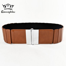 Fashion Brand Belts For Women Elastic Surface Patent Leather Woman Belt Leather Wide Women's Belts(China)