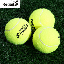 REGAIL 3pcs Yellow High Elasticity Tennis Balls Natural rubber Outdoor Sports with a Box for Competition and Training(China)