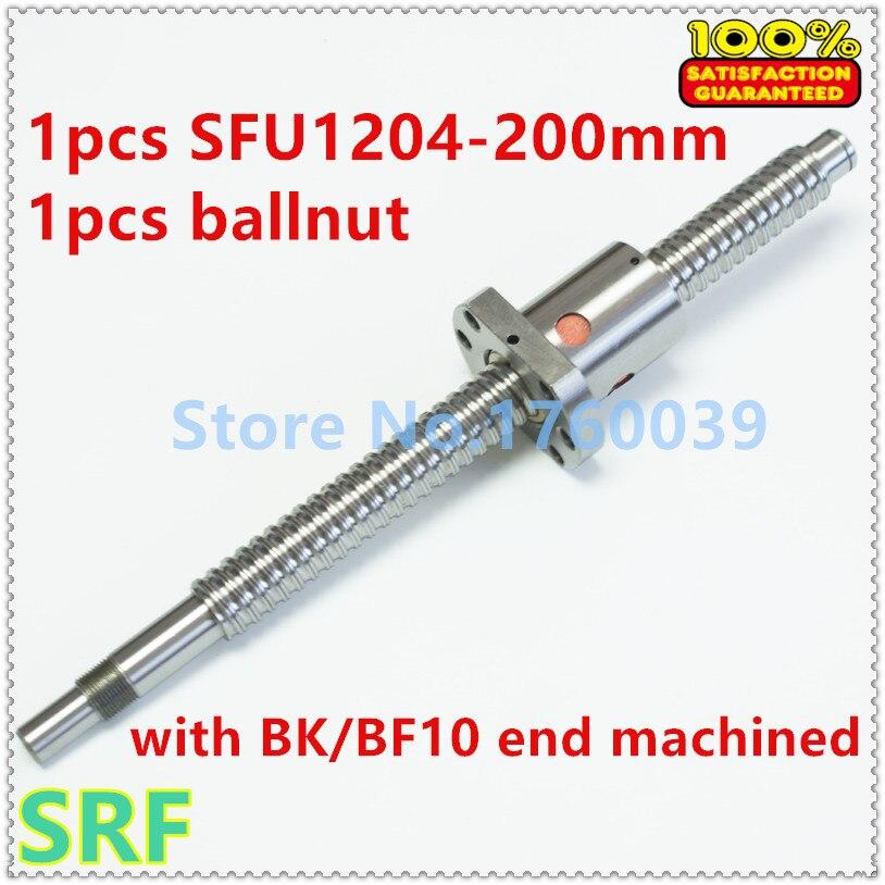 Free shipping 12mm Rolled Ballscrew SFU1204 L200MM C7+SFU1204 Ball screw  ballnut with BK/BF10 end machined<br>