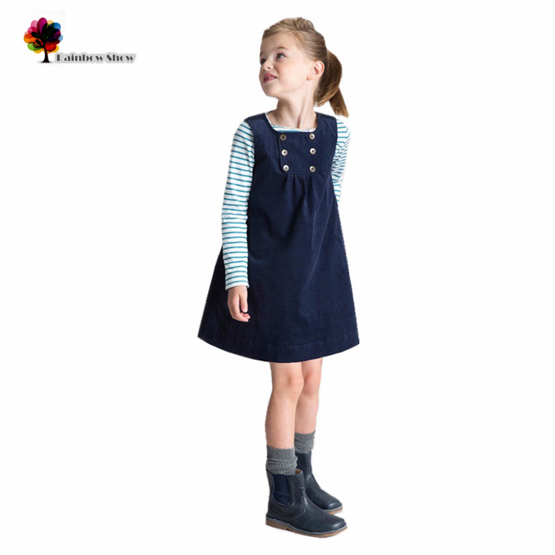 Mandy Wish Brand New  Thick Dresses Girls Winter Autumn Spring Classical Cotton Sleeveless Solid Corduroy Quality Vest Dresses<br><br>Aliexpress