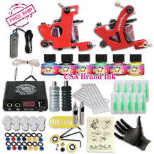 Free Cheap Tattoo Kit  Complete 2 Tattoo Machines  6 Colors USA Brand Tattoo Inks Power Supply Kit