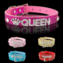 Personalized Dog Pet Collars DIY Name Customized Puppy Collar Free Rhinestone Letters And Charm XS/S/M/L(China)
