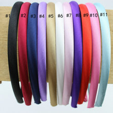 Hot 8mm Mix Colored Satin Covered Resin Fabric Head Hoops Plain Solid Plastic Hairbands Ribbon Covered Adult Kids  Headband