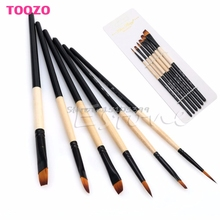 6Pcs Nylon Hair Paint Flat Brush Gouache Acrylic Oil Painting Art Craft Set New #G205M# Best Quality