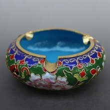 The characteristics of Beijing China wind technology gift genuine fetal copper filigree Enamel Cloisonne ashtray green