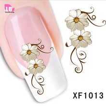 1 sheet Fashion Water Transfer Flower Design Nail Decals Tattoo Sticker Manicure Foil Wrap DIY Stylish Decoration Tool XF1013