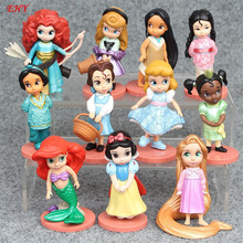 11 pcs/set Fantasy World Princess Snow White Ariel Belle Rapunzel Aurora Alice PVC Action Figures Toys Dolls JL070 girl gift