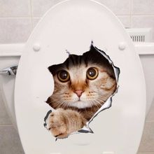 2017  Vinyl Waterproof Cat Dog 3D Wall Sticker Poster Background Wall Stickers Bathroom Toilet Living Room Home Decor