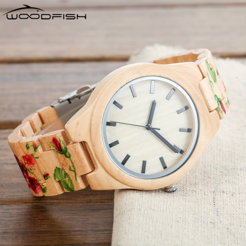 WOODFISH Cute Wood Watches New UV Printing Flower Band Women Watches Fashion Quartz Wristwatches With Gift Box relojes mujer <br>