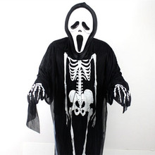 Children Classic Halloween costume Clothes+Mask+Gloves zombie Skeleton bar theme activities skull scaring party ghost costumes