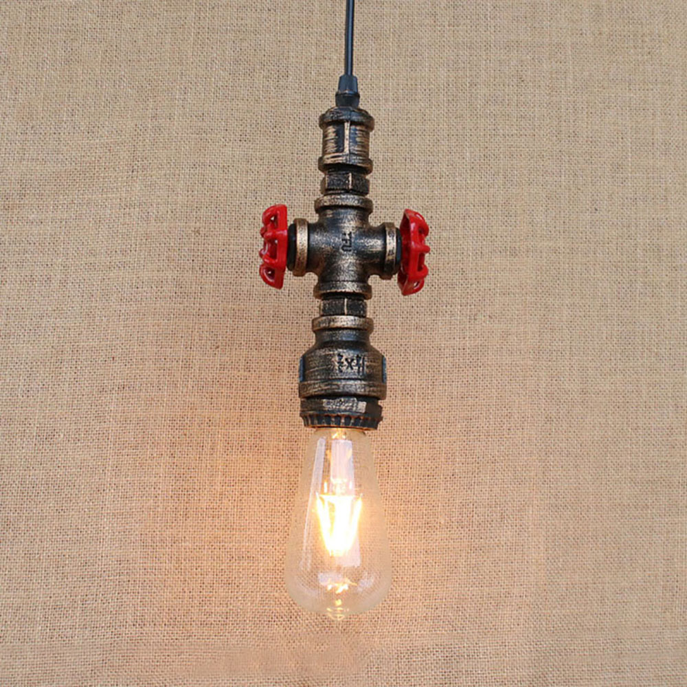 Loft industrial Iron water Pipe Vintage pendant lamp cord e27 antique rust lights for personalized bar dining/living room<br>