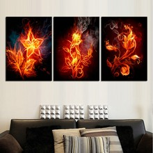 Canvas Wall Art Pictures HD Prints For Living Room Home Decor 3 Pieces Fire Flowers Paintings Framework Abstract Flame Posters(China)