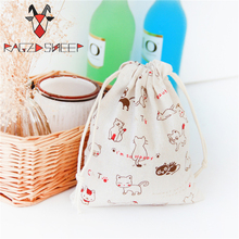 Raged Sheep Fashion Drawstring Cotton Grocery Shopping Bags Folding Shopping Cart Eco Lovely Cat Printed Reusable Bag(China)