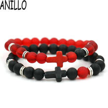 ANILLO Men And Women Lover Couples Bracelet Natural Stone Cross Bracelet Black Red Matte Beaded Bracelets Casual/Sporty jewelry