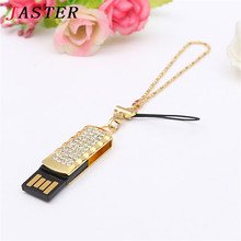 JASTER Jewelry Crystal USB flash pen drive 8GB 16GB 32GB metal diamond memory stick beauty key chain gifts for girl lover