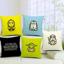 Star Wars Cute Cartoon Image by Comic Master Printed Cotton Linen Pillow Cases Cushion Cover For Home Sofa 45*45cm