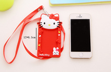 Kawaii 2Colors - Hello Kitty 12*6CM Approx. Rubber BUS Cards & ID Message Cards Holder Case Pouch BAG Holder Case(China)