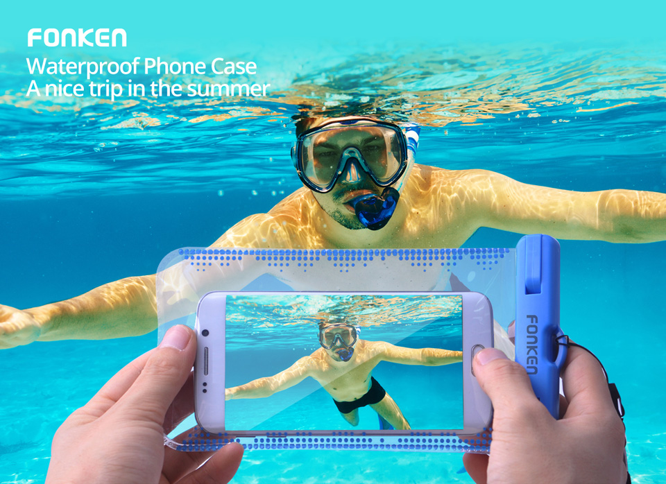 FONKEN Waterproof Case for Phone Case Dry Bag IPX8 underwater Swimming Phone Case 6 inch Snow Proof for Mobile phone case