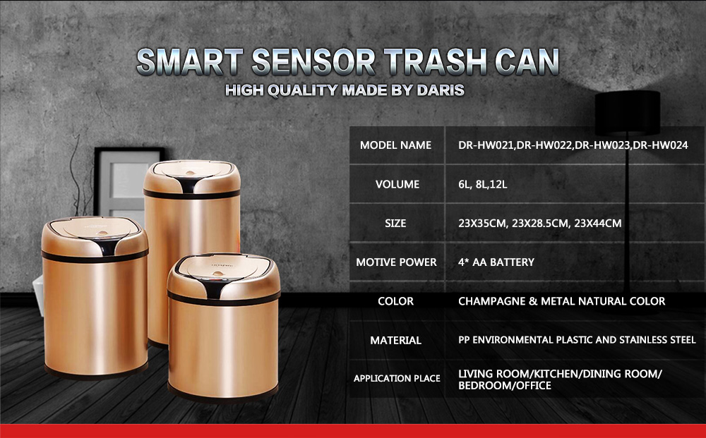 6L 8L 12L Inductive Type Smart Sensor Automatic Kitchen And Toilet Stainless Steel Rubbish Bin 9