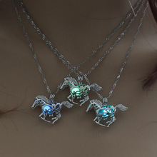New Arrival Glowing In The Dark Running Horse Pendant Necklace Hollow Out Luminous Locket Cage Necklace Jewelry(China)