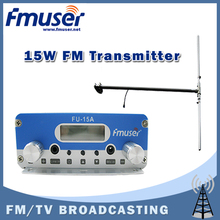 Free shipping FMUSER FU-15A 15W FM transmitter radio broadcaster+DP100 1/2 wave Dipole antenna KIT