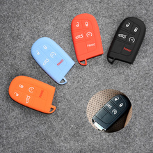 Hot Selling Silicone Key Cover Case For 4 Or 5 Buttons Chrysler 300/ Jeep Cherokee ect. Smart Key Car Key Case 4 Colors Optional