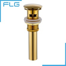 New Solid Brass Bathroom Lavatory Sink Pop Up Drain With overflow Gold Finish bathroom parts faucet accessories(China)