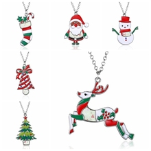 Rinhoo Christmas Necklace Enamel Jewelry Print snowman deer socks Christmas tree Pendant Necklace 2017 new year gift(China)