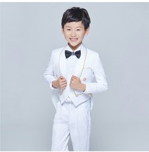 New Tailcoat Style Tuxedos Shawl Lapel Children Suit Black/White Kid Wedding/Prom Suits (Jacket+Vest+Pants+Tie +Shirt) NH23