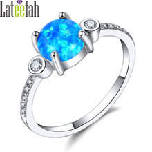 Lateefah Fashion Three Stones Blue Fire Opal Rings for Bride Vintage Princess Thin Band Rings Unique Opal Ring Ringen Anel Bague