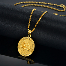 Religious Allah Charm Pendant Necklace For Women/Men Trendy Gold Color Islamic Pendants Necklaces Muslim Religion jewelry(China)