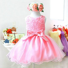 Summer New 1pc Girls Dress Baby Children Purple Pink Rose Chiffon Princess Dresses ZV37(China)