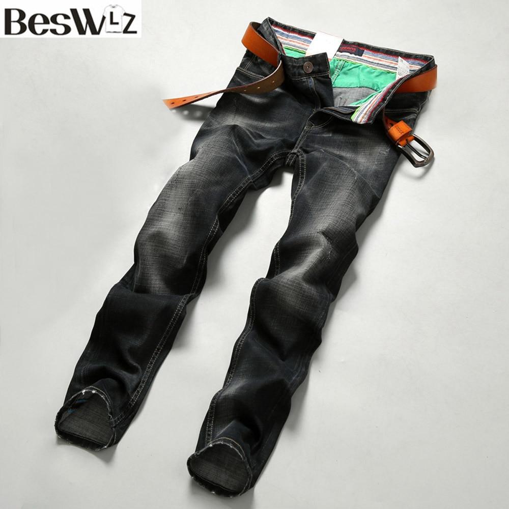 Beswlz Men Denim Jeans Straight Slim Male Jeans Pants Fashion Classical Casual Business Style Men Ripped Black Jeans 9514Îäåæäà è àêñåññóàðû<br><br>