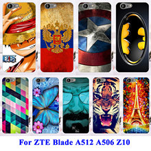 Soft TPU Hard Plastic Cell Phone Cases For ZTE Blade A512 Case A506 Z10 Housing Covers Cat Tiger Batman Shell Hood Bags Cover
