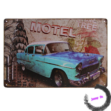 Hot Gift Tin sign globetrotter Highway Motel Vintage Metal plate Bule Car I8