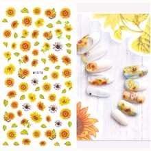 1 Sheet Dry Flowers Flamingo 3D Nail Art Transfer Stickers Mermaid Sea Nail Design Sunflower for DIY Nail Accessories Manicure(China)