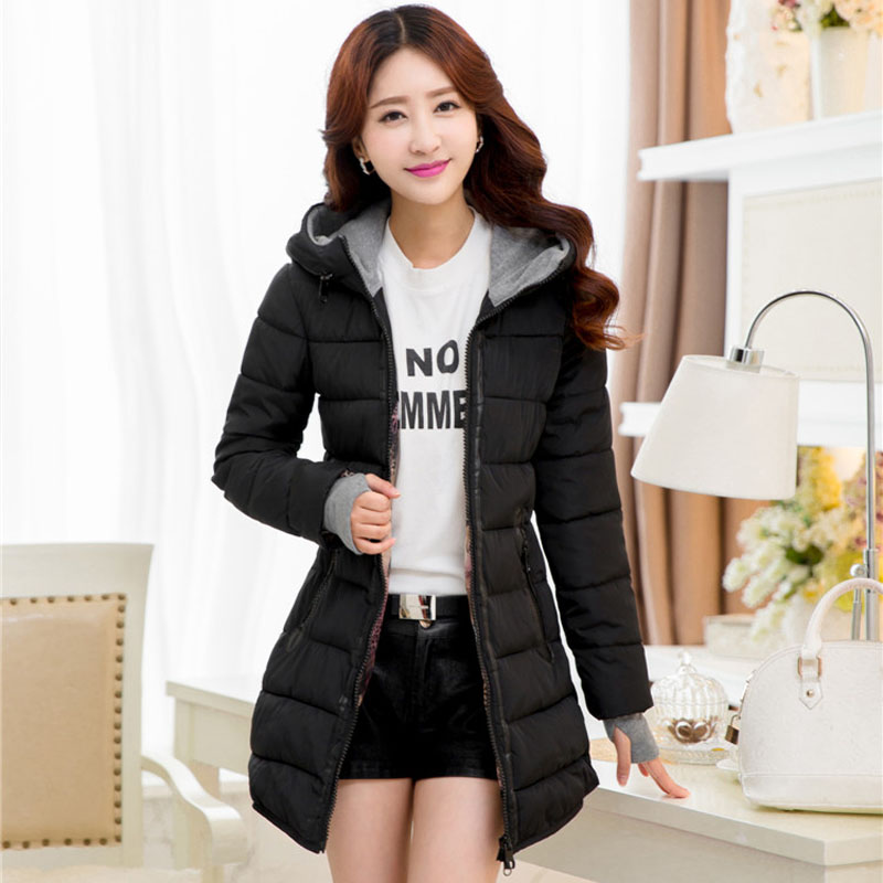 Womens Winter Jackets black blue and pink long wadded coat young girl warm  jacket with o hooded plus size xl-5xl 6xl 3563Îäåæäà è àêñåññóàðû<br><br>