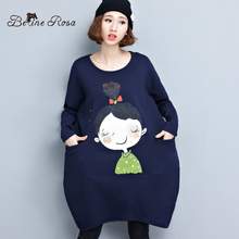 BelineRosa Big Sizes Women Dresses Korean Style Cute Girls Loose Hem Winter Short Dress Women FIT XL~5XL TYW124(China)