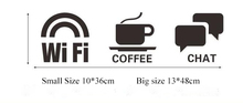 Hotel store glass wall window adhesive service warning label  wifi coffee chat service sign icon wall sticker