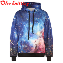 2016 hot sell 3D blue space galaxy women kawaii sporting hoodies jogger female tracksuit casual hoody high quality free shipping