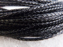 Bulk 50m/lot 3mm Black Braided Leather Cord Fit Necklace Bracelet A-2310(China)